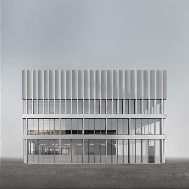 Neubau Bieler Stadtarchiv und Ambulanzgarage Region Biel Nordansicht STUDIO CORNEL STAEHELI