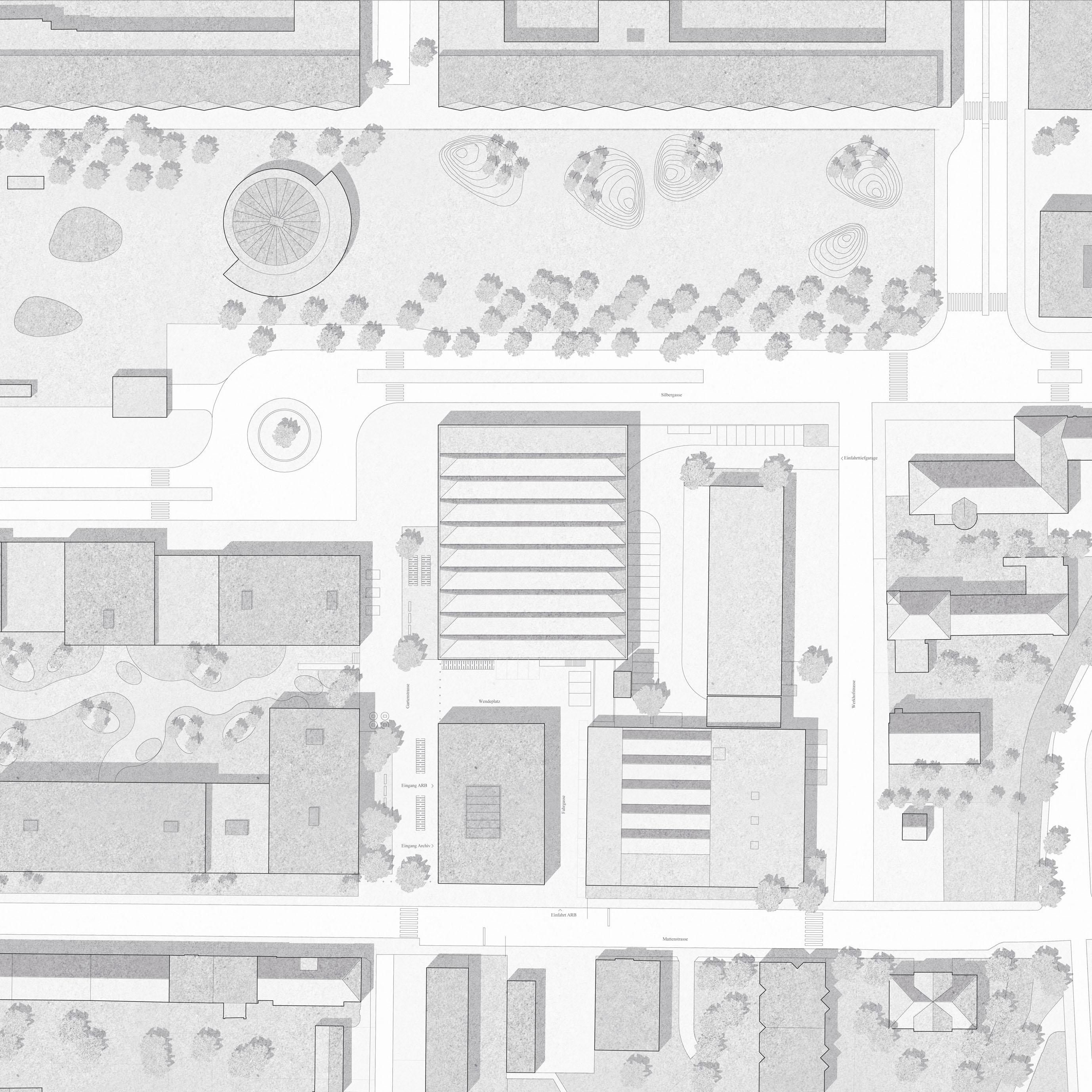 Neubau Bieler Stadtarchiv und Ambulanzgarage Region Biel Situation STUDIO CORNEL STAEHELI