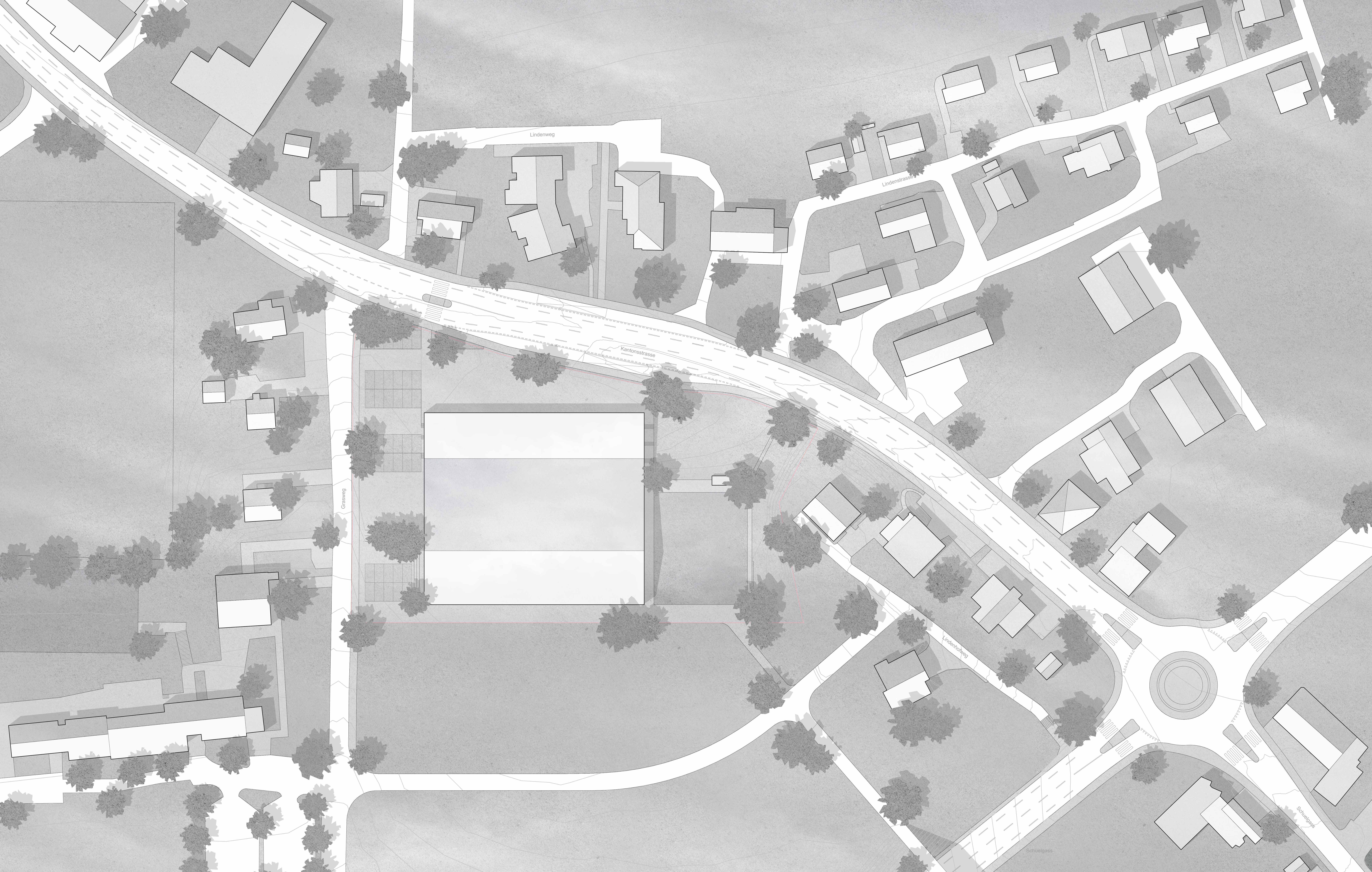 STUDIO CORNEL STAEHELI  Dreifachsporthalle mit Feuerwehrstützpunkt und Zivilschutzanlage Beromünster Situation