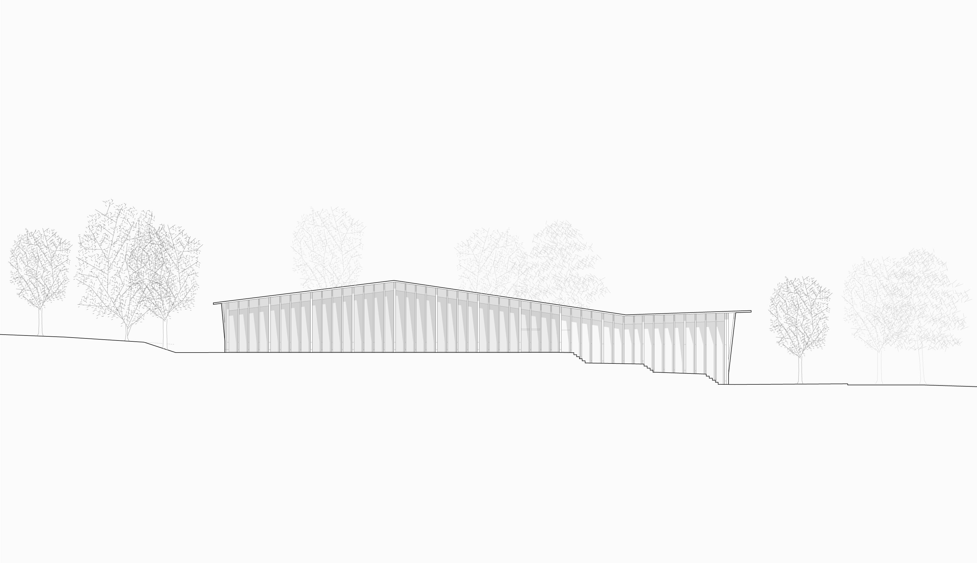 STUDIO CORNEL STAEHELI  Dreifachsporthalle mit Feuerwehrstützpunkt und Zivilschutzanlage Beromünster Situation Ansicht Ost