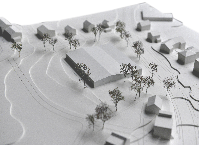 STUDIO CORNEL STAEHELI  Dreifachsporthalle mit Feuerwehrstützpunkt und Zivilschutzanlage Beromünster Modell