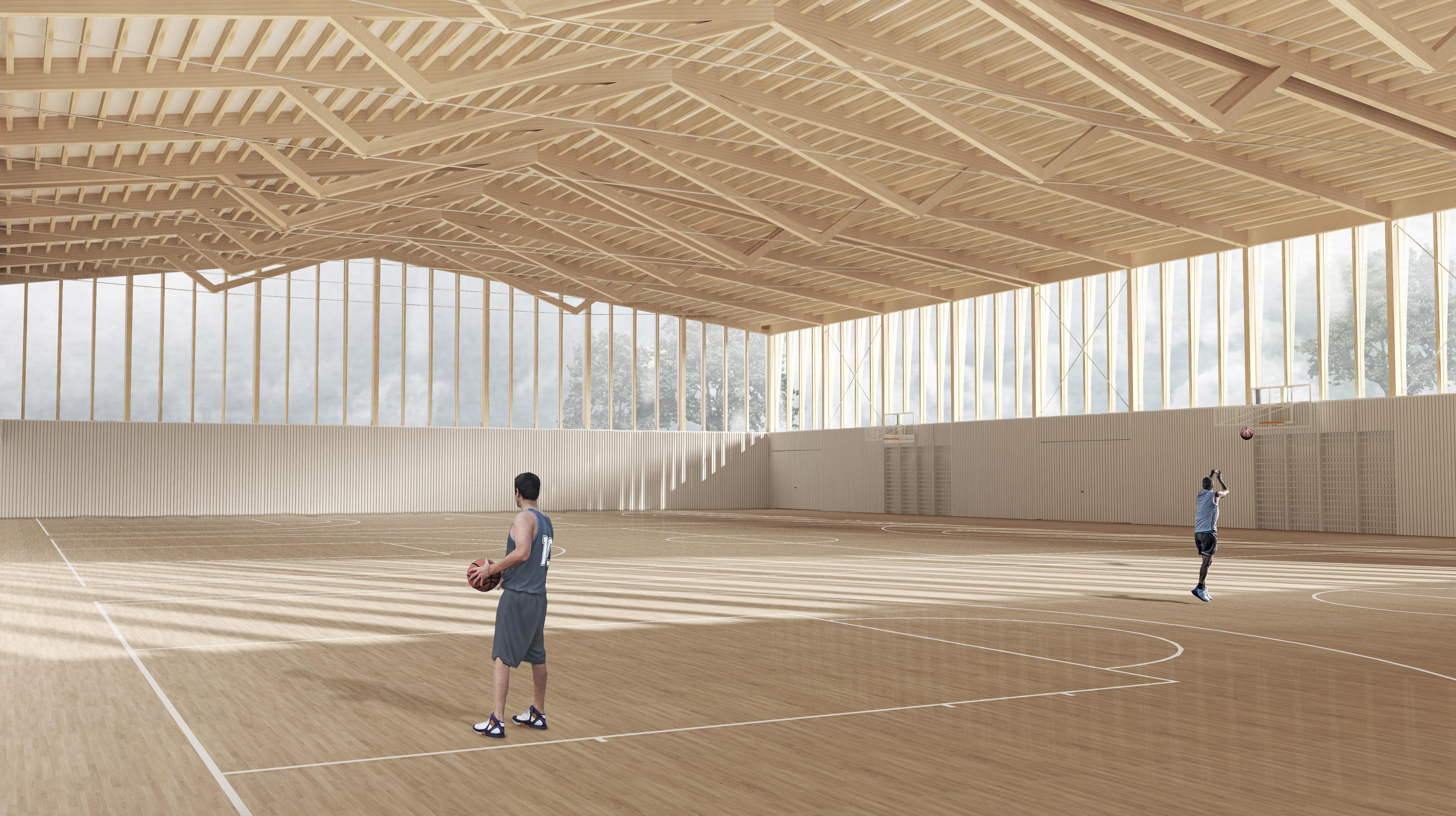 STUDIO CORNEL STAEHELI  Dreifachsporthalle mit Feuerwehrstützpunkt und Zivilschutzanlage Beromünster Turnhalle Holz