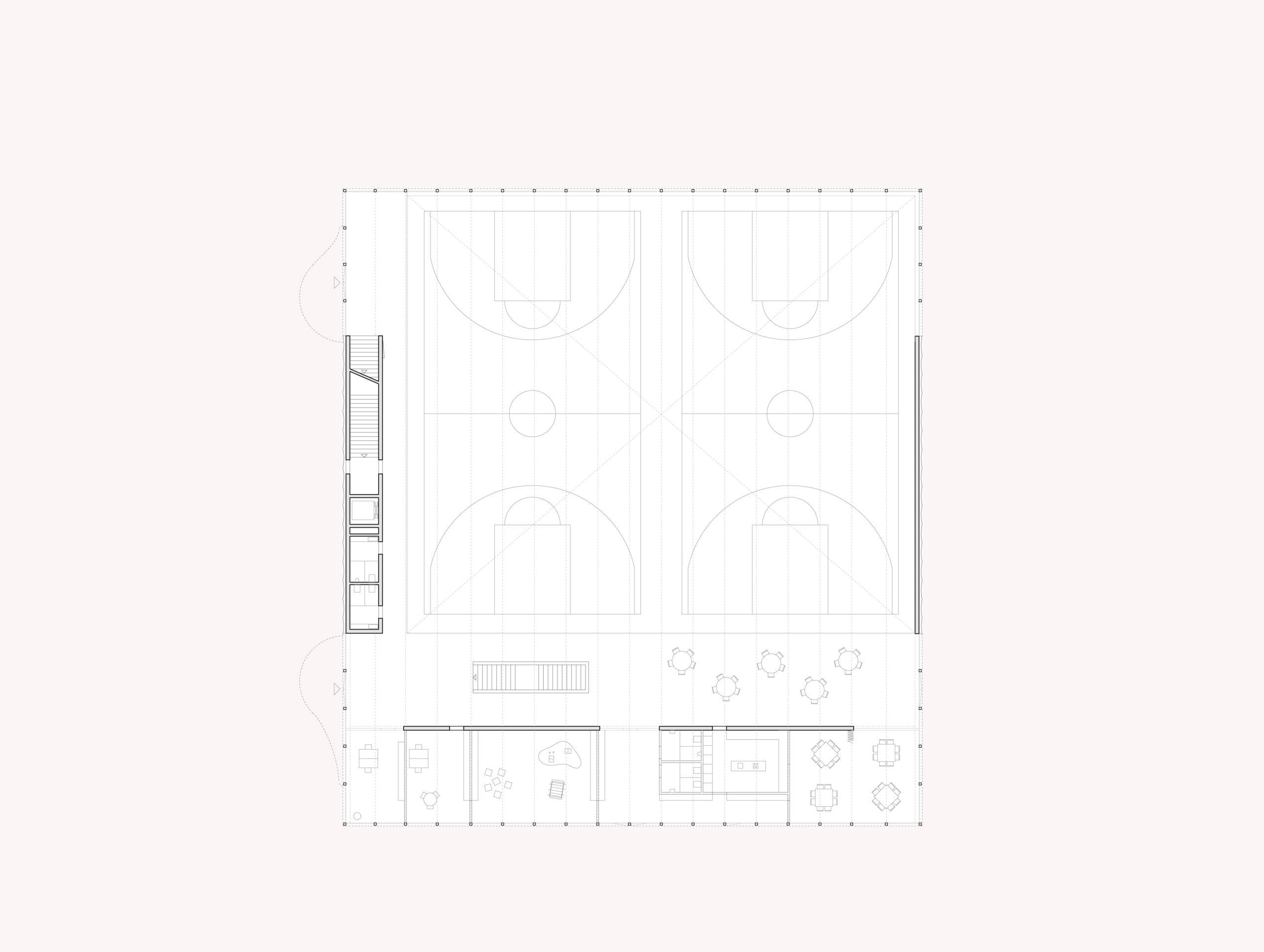 STUDIO CORNEL STAEHELI Schulraumerweiterung und Neubau Doppelturnhalle SH Kastels Grundriss Erdgeschoss