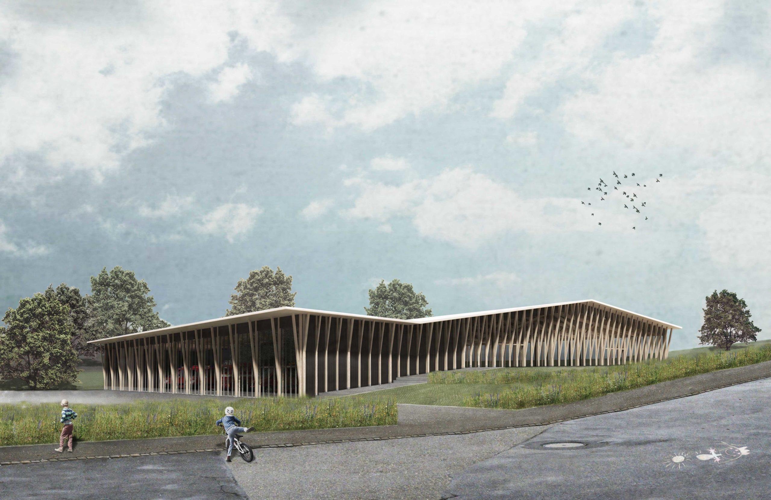STUDIO CORNEL STAEHELI  Dreifachsporthalle mit Feuerwehrstützpunkt und Zivilschutzanlage Beromünster Aussenbild Holz
