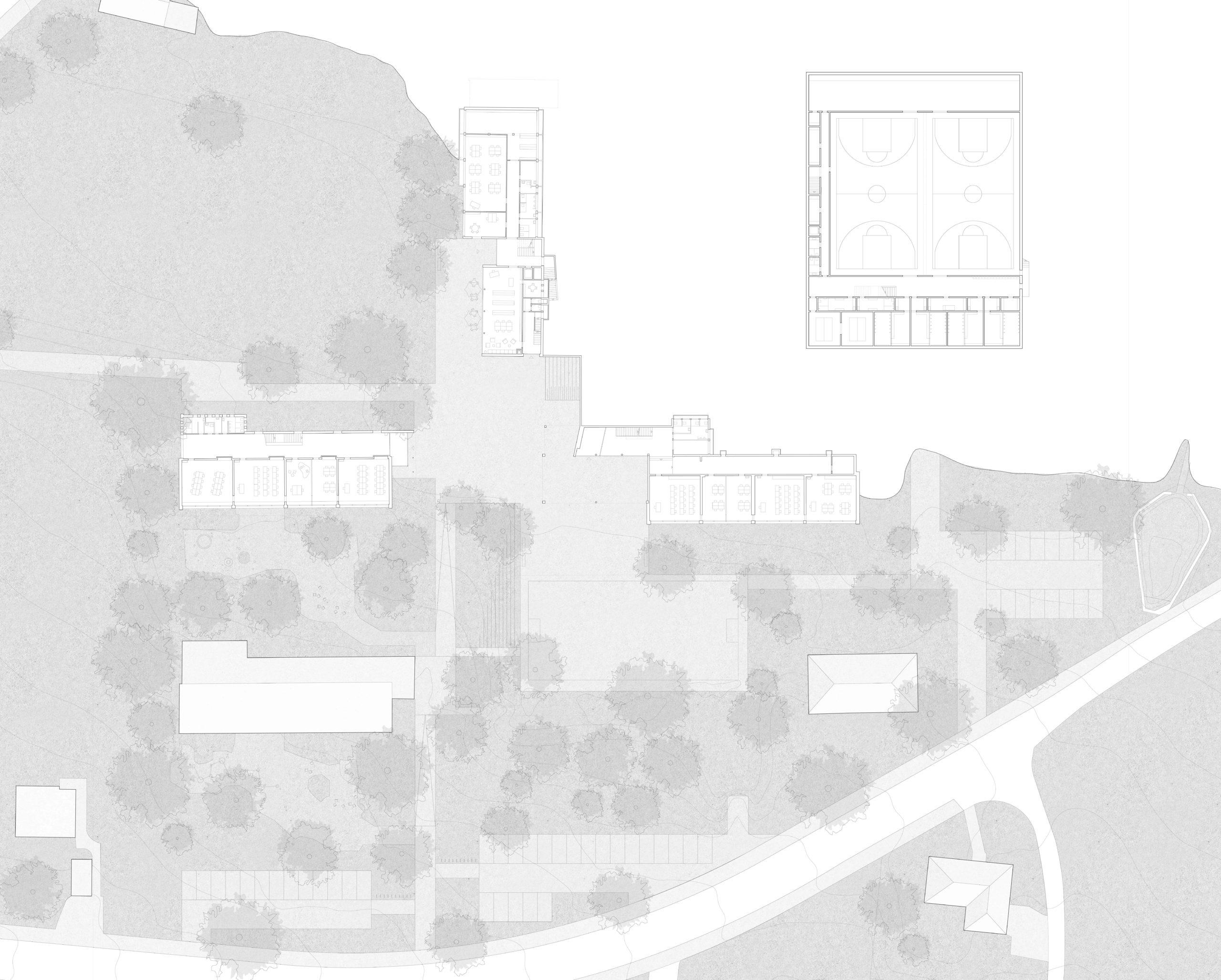 STUDIO CORNEL STAEHELI Schulraumerweiterung und Neubau Doppelturnhalle SH Kastels Bestand Grundriss