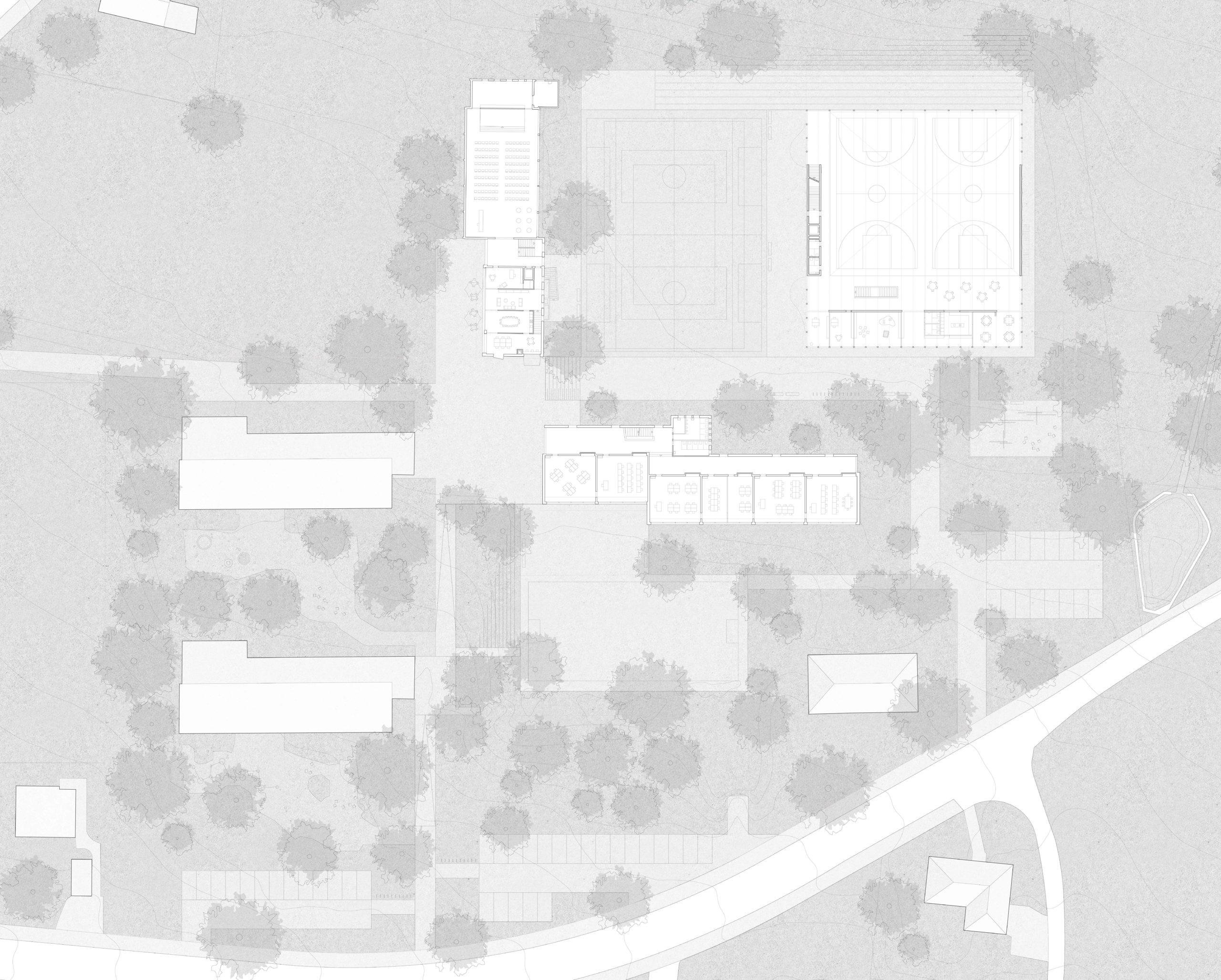STUDIO CORNEL STAEHELI Schulraumerweiterung und Neubau Doppelturnhalle SH Kastels Bestand Grundirss