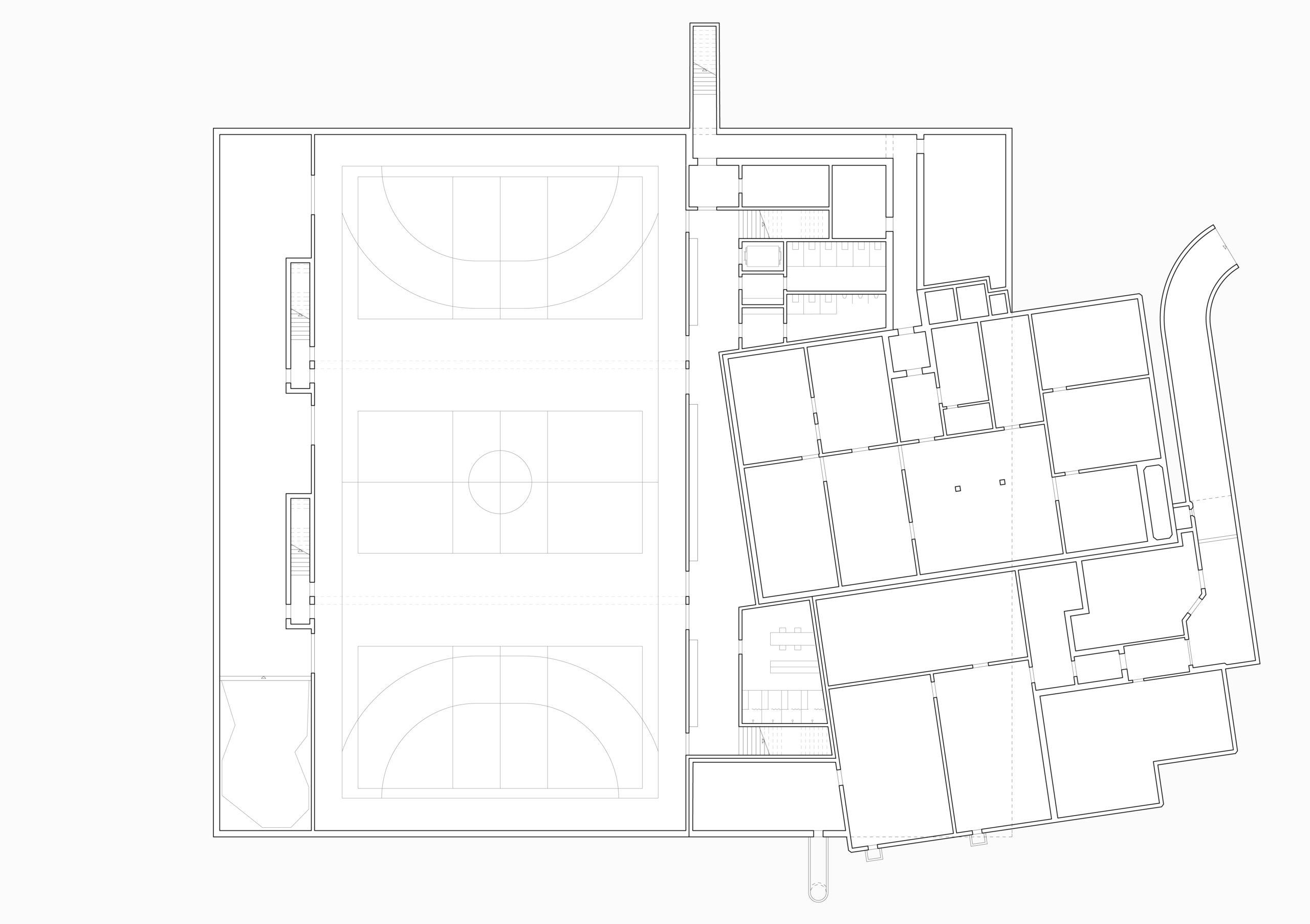 STUDIO CORNEL STAEHELI NEUBAU SPORTHALLE STEINACH Grundriss Untergeschoss