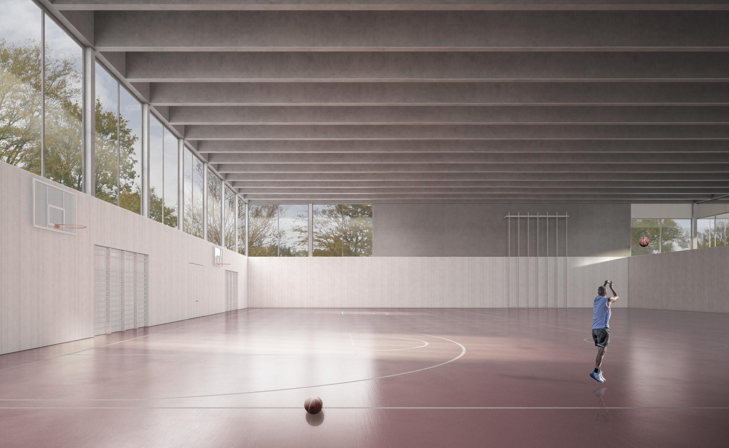STUDIO CORNEL STAEHELI Schulraumerweiterung und Neubau Doppelturnhalle SH Kastels Sporthalle