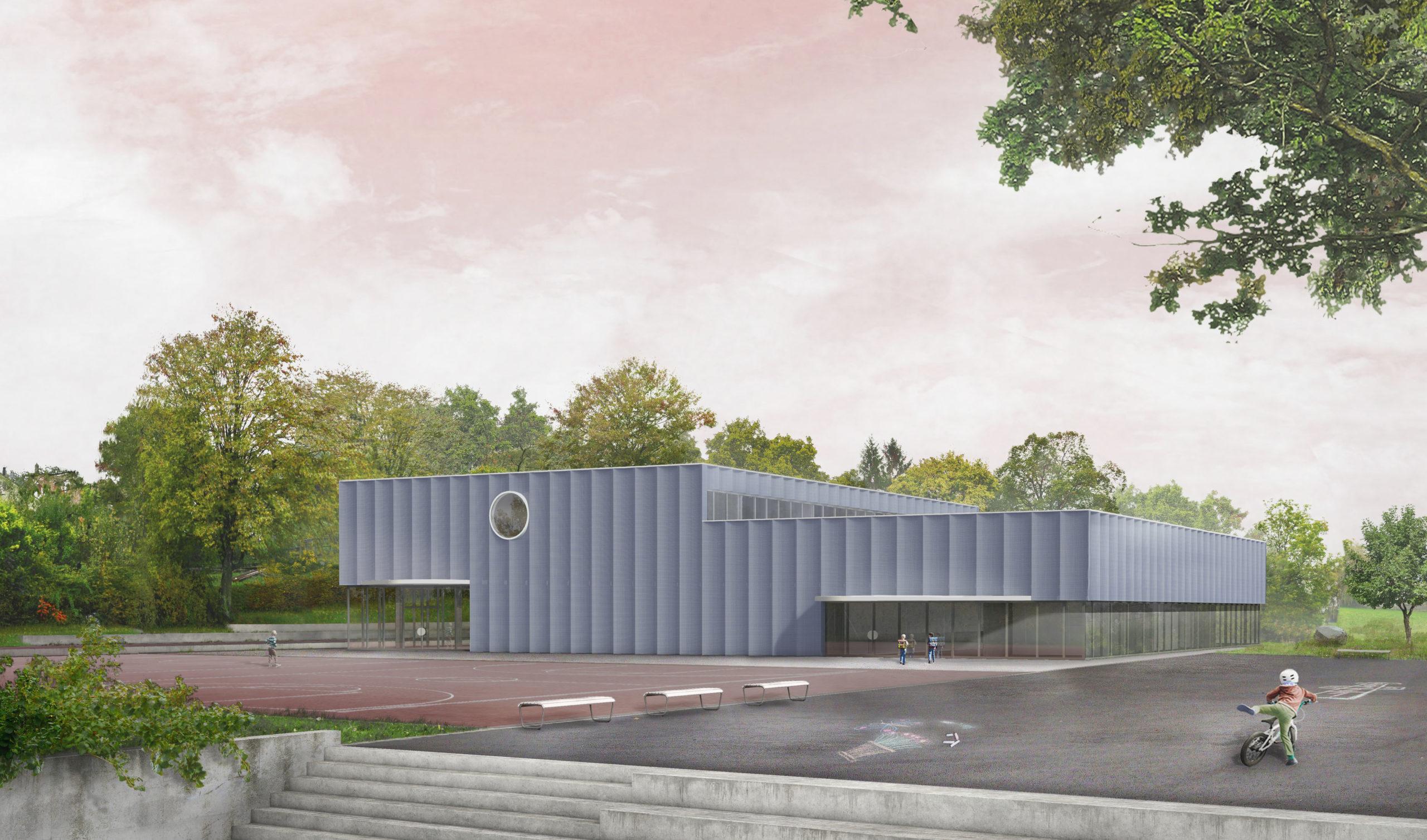 STUDIO CORNEL STAEHELI Schulraumerweiterung und Neubau Doppelturnhalle SH Kastels Ansicht