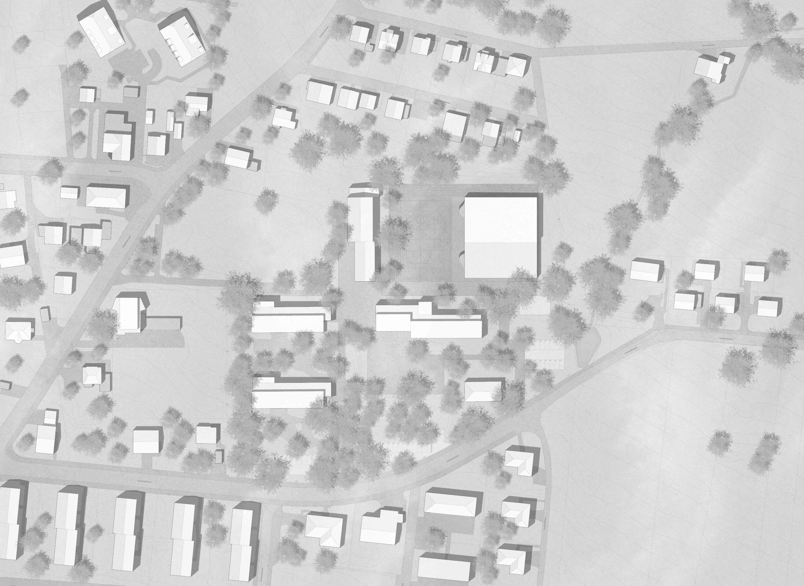 STUDIO CORNEL STAEHELI Schulraumerweiterung und Neubau Doppelturnhalle SH Kastels Situation