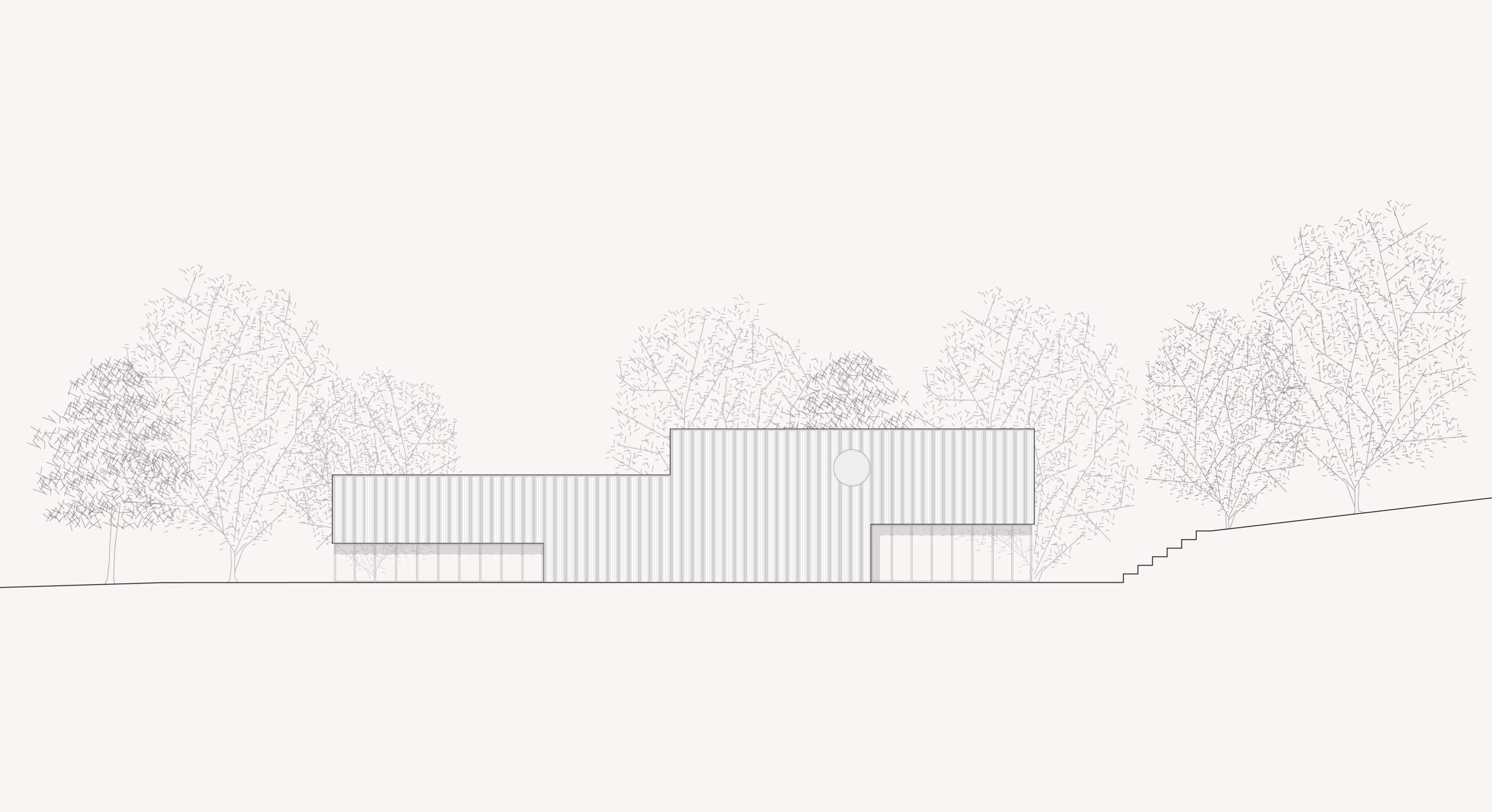 STUDIO CORNEL STAEHELI Schulraumerweiterung und Neubau Doppelturnhalle SH Kastels Sporthalle Ansicht