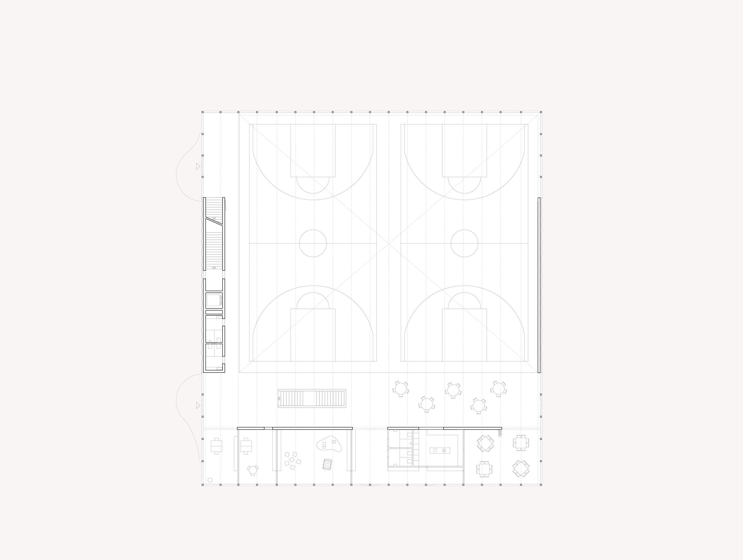 STUDIO CORNEL STAEHELI Schulraumerweiterung und Neubau Doppelturnhalle SH Kastels Sporthalle Grundriss EG