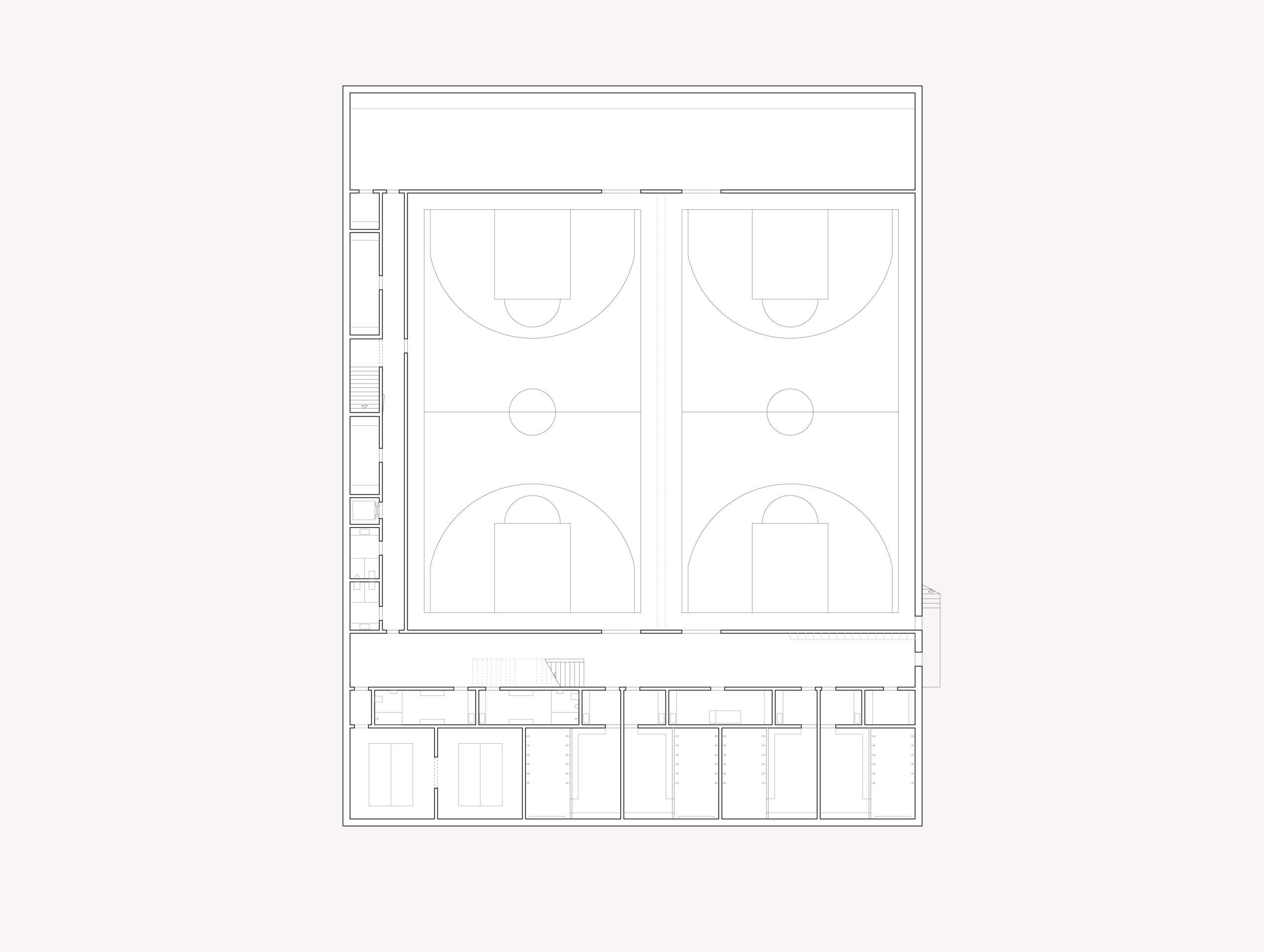 STUDIO CORNEL STAEHELI Schulraumerweiterung und Neubau Doppelturnhalle SH Kastels Sporthalle Grundriss UG